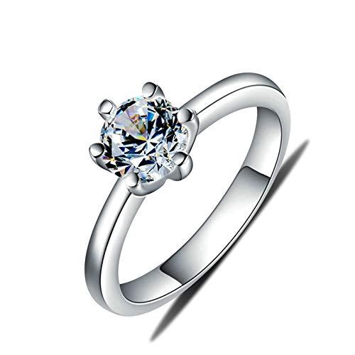 ROMQUEEN Anillo de Circonita Rond Rond Anillos de Boda Y Compromiso Anillo Diamantes Falso,Plata