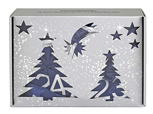 Briconti Make-up Adventskalender 2018 mit 24 Satin-Säckchen, dunkelblau