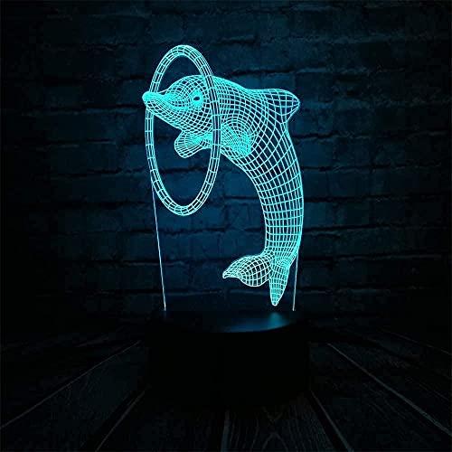 ilusión 3D lámpara de ilusión óptica para Delfín animal activo saltando tiburón hula hoop decoración de dormitorio regalo lámpara de noche creativa regalo Siete cambios de color, con interfaz USB
