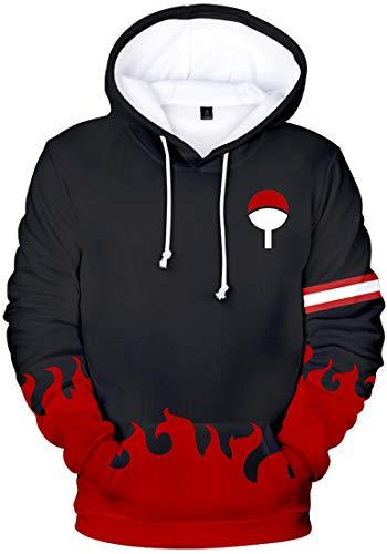 FLYCHEN Jungen Kapuzenpullover Naruto Super Serie 3D Druck Hoodie Donner Otaku Cosplay Uniform (Rote Flamme 2100,S)