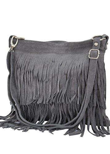 AMBRA Moda bolso de las señoras gamuza con refriega WL809 (Antracita)