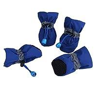 犬のブーツ 犬のブーツの靴ノンスリップ防水子犬の靴のペットの靴4点セットS / M/L/XL 犬用靴 3 ブルー