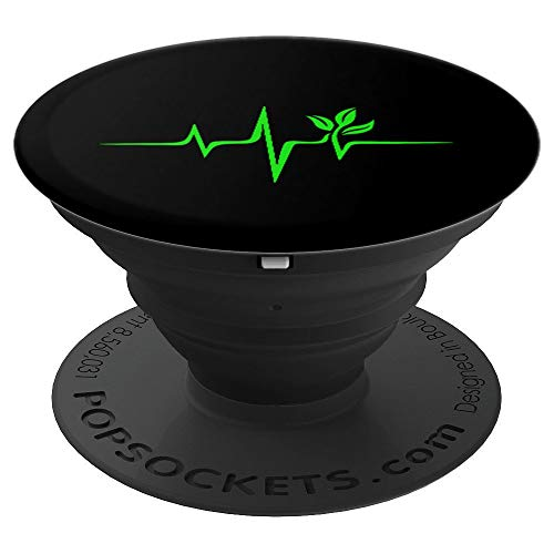 Pulse, green, heartbeat, vegan, plant, nature, environment PopSockets Grip and Stand for Phones and Tablets