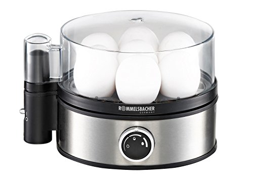 ROMMELSBACHER Eierkocher ER 400 - für 1-7 Eier, einstellbarer Härtegrad, elektronische Kochzeitüberwachung, Ein/Ausschalter, Signalton am Kochzeitende, Edelstahlgehäuse, 400 Watt