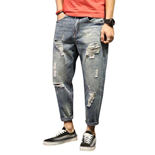 Yiiquan Jeans Uomo Strappati Lavato Pantaloni in Denim Uomini Straight Pantaloni Jeans Moda Stile 1 42