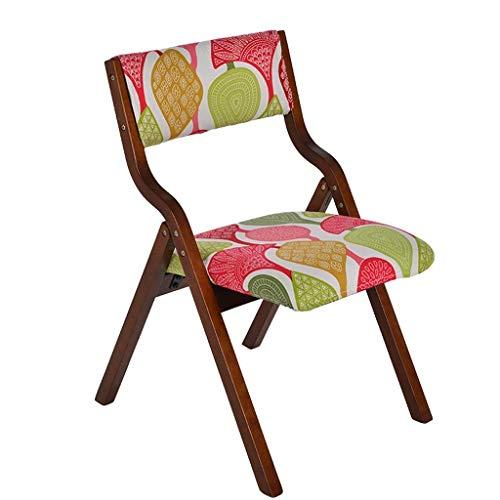 Sillas de comedor Silla silla plegable de madera maciza tela para el hogar simple y moderna silla de escritorio mahjong silla para el hogar silla para computadora espacio libre libre (Color: color caf