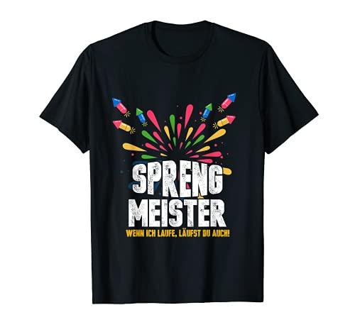 Herren Silvester Pyrotechnik Feuerwerk Neujahr Feiern Lustig T-Shirt