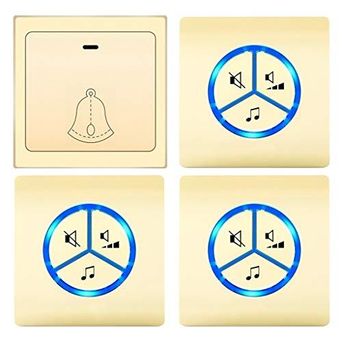 Einfache Installation Türklingel Türklingel Wasserdichtes Funk-Türklingel-Kit benötigt keine Batterie 25 Melody 4-stufige LED-Blitz-Türklingel mit einstellbarer Lautstärke (Gold) hochwertige Türklinge
