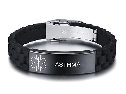 VNOX Asthma Medizinisch Armband aus Edelstahl Medizinischer Alarm Armband Medical Silicon Armband für Männer Frauen,18-22.5cm Einstellbar.