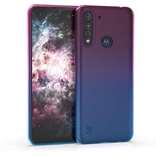 kwmobile Hülle kompatibel mit Motorola Moto G8 Power Lite - Hülle Handy - Handyhülle Zwei Farben Pink Blau Transparent