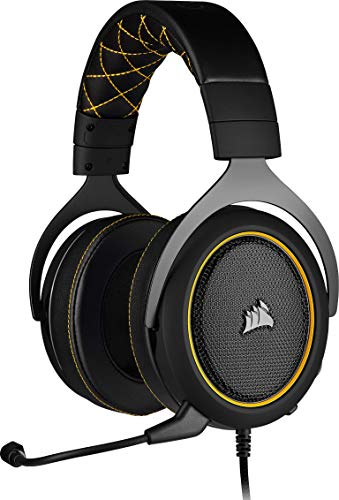 Corsair HS60 PRO Surround Auriculares para Juegos (7.1 Sonido envolvente, Espuma viscoelástica almohadillas, Unidireccional micrófono, Compatible con PC, PS4, Xbox One, Switch y móviles), Amarillo