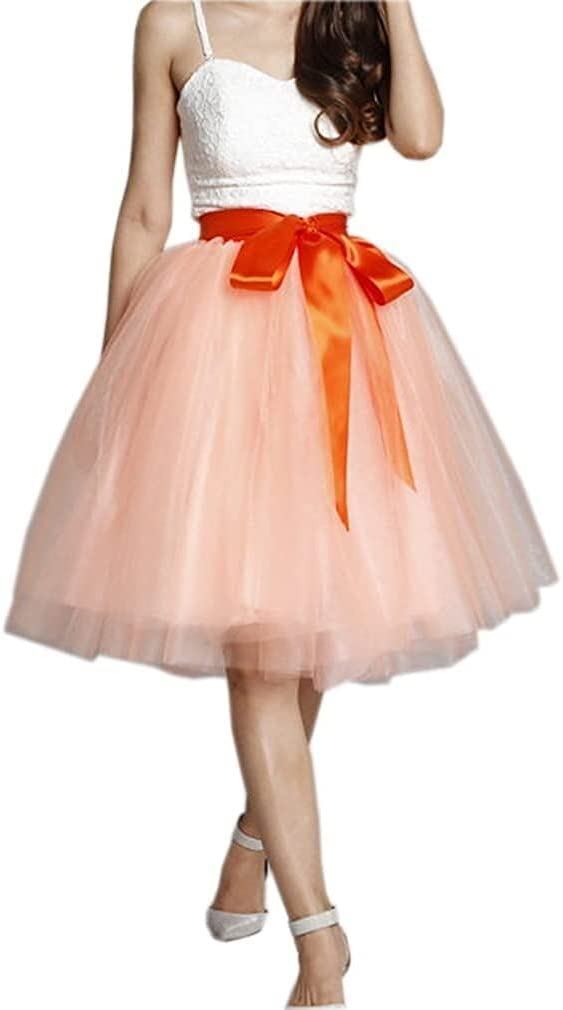 Women's XL Long Skirt, A-line Short Skirt, Tulle Long Skirt, Tulle Wedding Dress, Tulle Dress (Color : Orange and Pink, Size : Large)