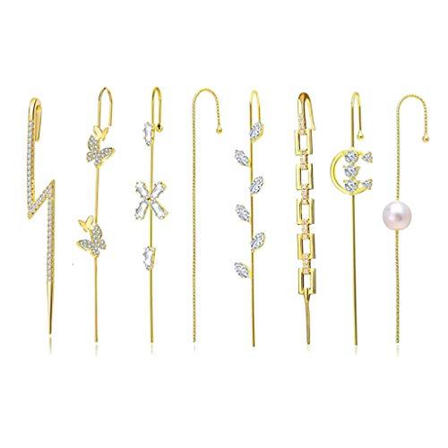 luosh Ear Cuffs Wrap Orecchini Ear Crawler Orecchini Hook Orecchini Kit per Le Donne Ragazze Valentine Day Wedding