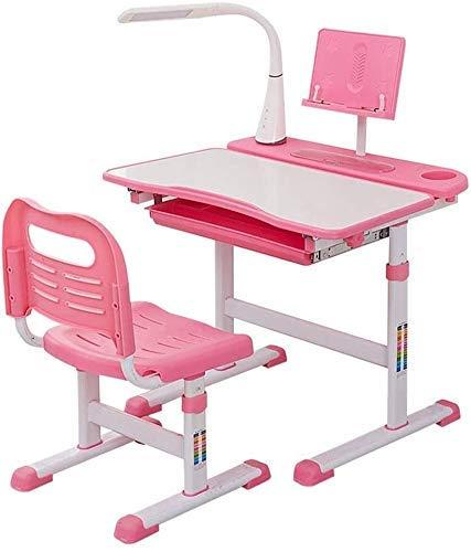 Tägliche Ausrüstung Kinderschreibtisch- und Stuhlset Kinderschreibtisch Multifunktionaler Schreibtisch Kinderschreibtisch und Stuhlset mit LED-Lampe Childen Kinderschreibtisch Ideal zum Schreiben L