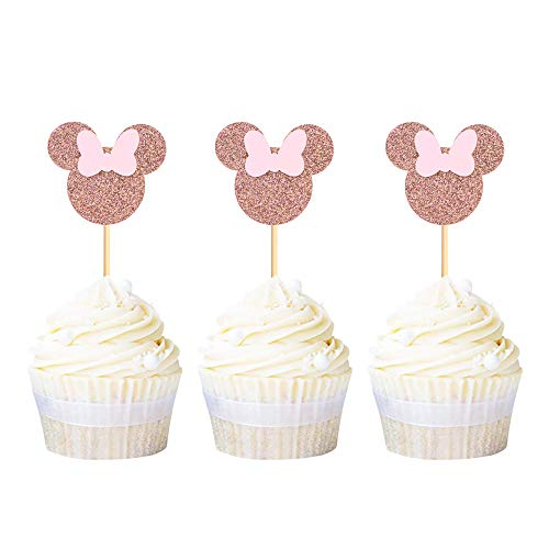 Ercadio 24 Pack Rose Gold Minnie Mouse Inspired Cupcake Toppers with Pink Bow Glitter Mini Cupcake Picks Decorations for Baby Shower Kids Girls Birthday Party Supplies