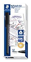 Staedtler 432M 9OfficeペンボールペンMediumライン、幅0.45MM、10個のボックス、ブラック