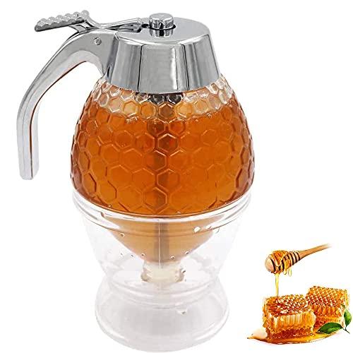 Honigtöpfe, Honig Container, Sirupspender Glas, Honig-Dosierer, Honig Behälter , mit Ständer, Aufbewahrungsständer, zum Servieren von Honig und Sirup, Ohne Tropfen, Mäßiger Durchfluss (200 ml)