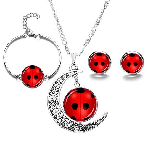 miraculous ladybug orecchini moorcowry 1 pz miracolosa coccinella tempo Gem cabochon collana bracciale set