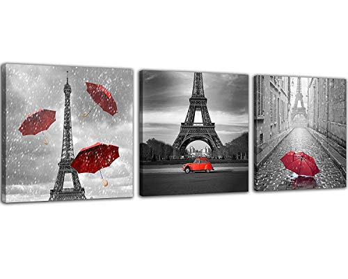 Price comparison product image NAN Wind 3 Pcs Paris Canvas Prints Black and White Canvas with Red Umbrella Eiffel Tower Decor Red Car Red Wall Art Paintings on Canvas Stretched and Framed Ready to Hang for Home Decor