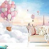 Große Wandgemälde Karikatur 3D dreidimensionale Heißluftballon Tapete Kinderzimmer Jungen und Mädchen Schlafzimmer Kinderzimmer Wandtapete, 200 × 175 cm