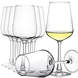 CREST Juego de 8 copas de vino blanco, 360 ml, cristal de cristal, tallo largo, perfecto para el hogar, restaurantes y fiestas