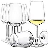CREST Juego de 8 copas de vino blanco, 360 ml, cristal de cristal, tallo largo,...