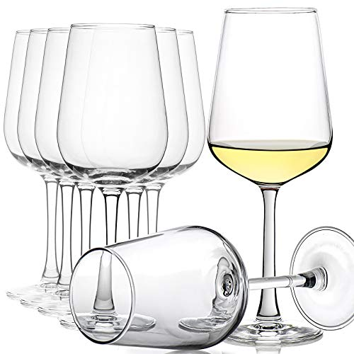CREST - Juego de 8copas de vino, 360ml, cristal transparente, tallo largo,...
