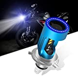 KaiDengZhe H4 HS1 LED Motorcycle Headlight Bulb with Blue Angel Eye 9003 HS1 High/Low LED Headlamp 12V 2600LM Replacement of H4 Halogen Lamp White 6000K(Pack of 1)