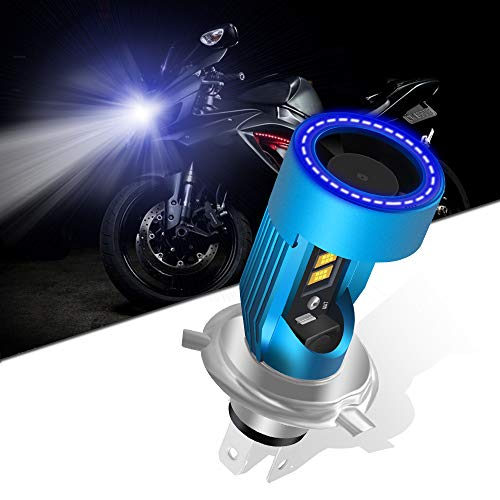 KaiDengZhe H4 HS1 Bombilla LED para Faros Delanteros de Motocicleta con Blue Angel Eye 9003 HS1 Faro LED Alto/Bajo 12V 2600LM Reemplazo de la Lámpara Halógena H4 Blanco 6000K