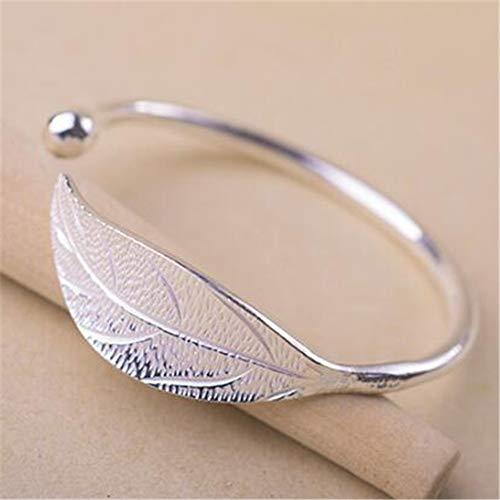 Clarashop Silver Leaf Armreif 925 Silber Armband Einstellbar Geburtstagsgeschenke Geschenk Hochzeitsgeschenk für Frauen