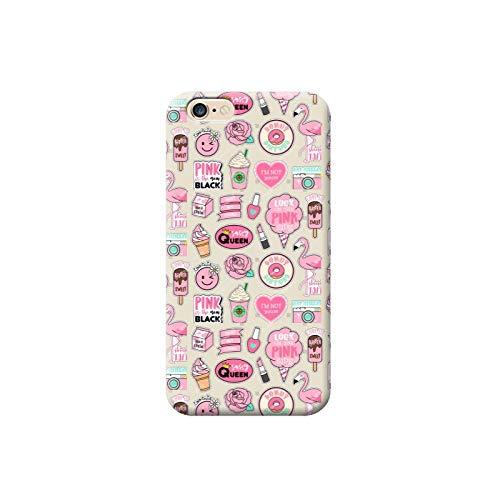 TheBigStock Cover Custodia per Tutti Modelli Apple iPhone x 8 7 6 6s 5 5s Plus 4 5c TPU B22 - AE02 Ciambelle Fenicotteri Pink Cuori Rose Emoticon Gelato Rossetto, iPhone 7