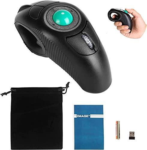 Trackball Maus Kabellose USB Hanheld Funkmaus mit Laser für Rechts- oder Linkshänder