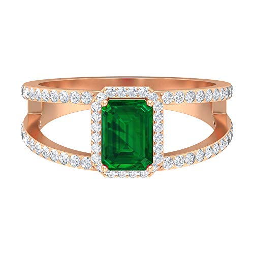 Rosec Jewels 14 quilates oro rosa round-brilliant-shape Octagone H-I Green Diamond Emerald