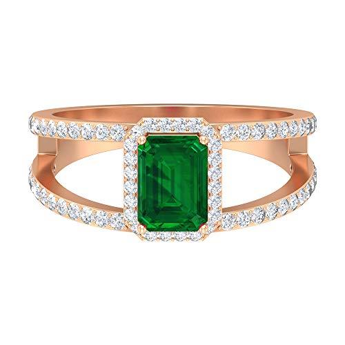 Rosec Jewels 14 quilates oro rosa round-brilliant-shape Octagone H-I Green Diamond Emerald