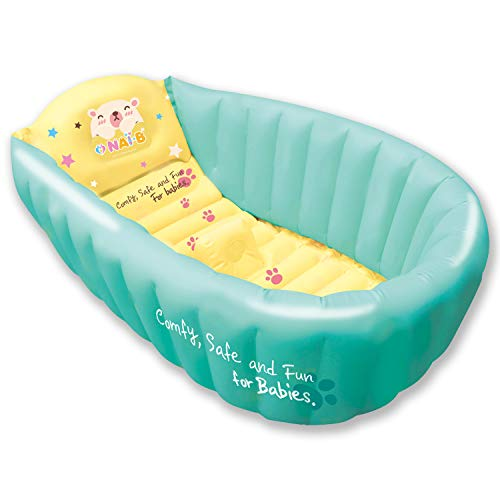 Nai-B Inflatable Baby Bath Tub. Portable and Foldable Bathtub for Infants and Toddlers. Safety Seat Mat Prevents Slipping [Mint]
