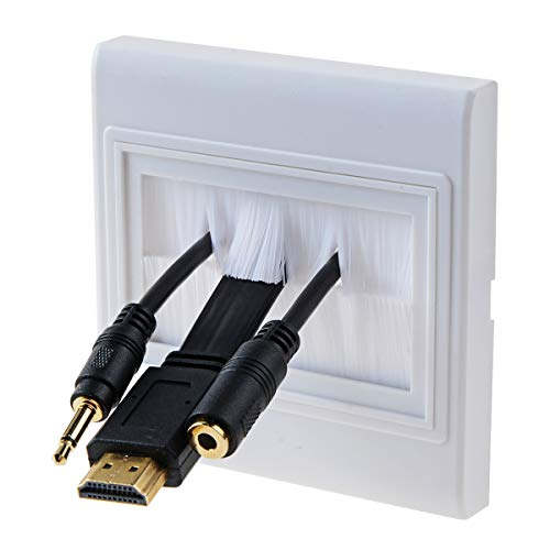 Screwless cover Brush Faceplate Wall Plate - Single Gang Cable Entry Access Brush Bristles Style Strap Opening Port Insert Socket Wiring Plug Jack Decorative Face Cover Outlet Mount Panel (White)