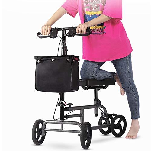 HPH Faltbare Knie Walker Assistance Scooter W/Padded Sitz verstellbar Lenkerkorb Bremsen 4 Räder Silber