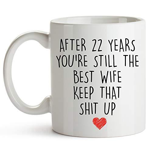 YouNique Designs Kaffeetasse zum 22 Jahrestag für Sie, 325 ml, Tasse zum 22. Hochzeitstag für die Ehefrau, zwanzig zwei Jahre, 22 Jahre