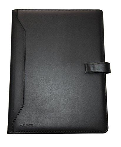 Monolith 2000002900 - Schreibmappe Din A4, Lederoptik, schwarz, Dokumentenfächer, Druckknopfverschluss