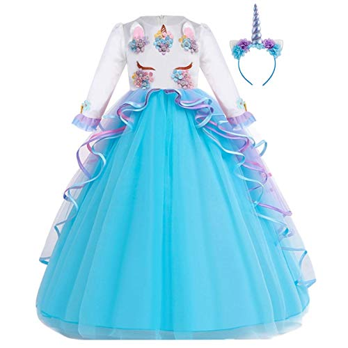 IZKIZF Girls Unicorn Costume Princess Long Maxi Tulle Dress w/Headband Birthday Party Carnival Cosplay Long Sleeve Outfits Blue 8-9T