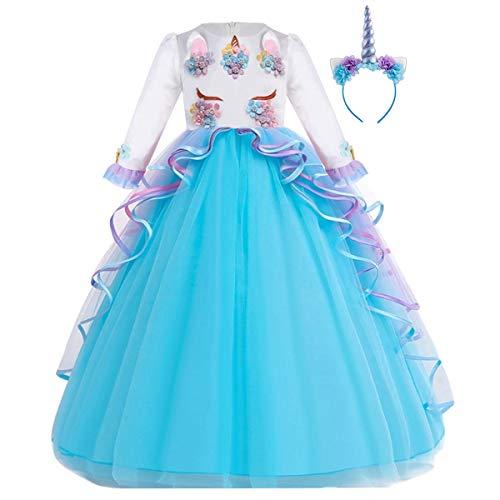 FMYFWY Niña Vestido de Unicornio Princesa Cumpleaños Manga Larga Disfraz de Carnaval Halloween Navidad Fiesta de Cosplay para Chicas Bautizo Comunión Boda Velada Ropa con Diadema Azul 6-7