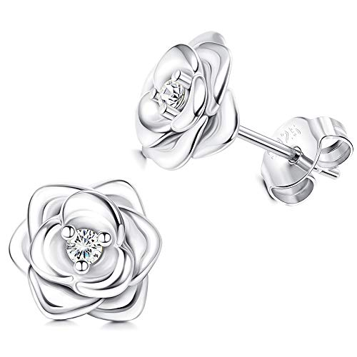 Sllaiss Rose Earrings Sets with Swarovski Zirconia 925 Sterling Silver Stud Earrings for Women White Gold Plated Flower Earrings Christmas Jewellery
