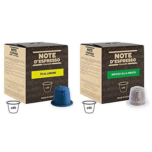 Note DEspresso Capsulas de Te, Limon - 40 Unidades da 8g, Total: 320 g Exclusivamente Compatible con cafeteras Nespresso + Capsulas de menta poleo exclusivamente compatibles con cafeteras Nespresso