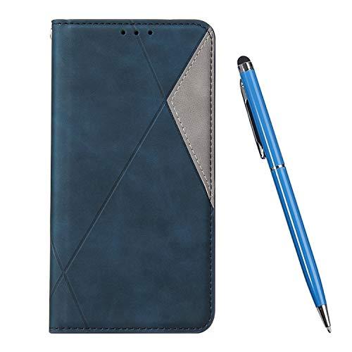 TOUCASA Kompatibel mit Huawei P30 Hülle, Handyhülle Brieftasche PU Leder Flip Case [Ständer Kartenfach] [Taktile Stitching] Handytasche Klapphülle Kratzfestes Schutz Lederhülle (Blau)