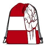 N/A Saco De Gimnasio Deporte,Mochila Con Cordón,Bolsas De Cuerdas Gimnasio,Austria Fist Flag Athletic Pull String Bag Para Viajar Escuela Compras Yoga