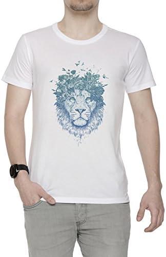 Floral León Hombre Camiseta Cuello Redondo Blanco Manga Corta Todos Los Tamaños