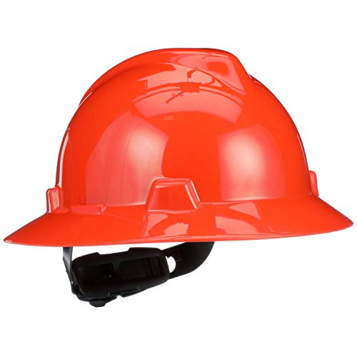 MSA 496075 V-Gard Full-Brim Hard Hat With Fas-Trac III Ratchet Suspension   Polyethylene Shell, Superior Impact Protection, Self Adjusting Crown Straps - Standard Size in Orange