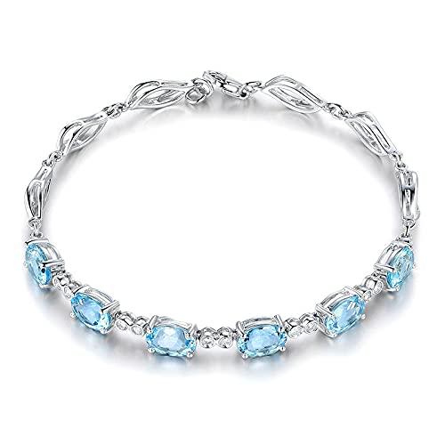 CHIY-GBC Pulseras de Aguamarina para Mujer Pulsera de Piedras Preciosas Azul Cielo de Plata 925 para Regalo de Mujer