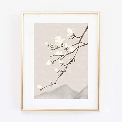 Kunstdruck Din A4 ungerahmt Magnolie Magnolienzweig Asiatische Kunst Poster Bild