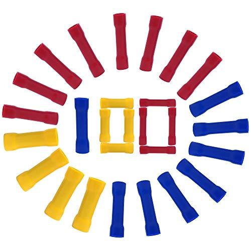 Stoßverbinder Set,100 Stück Quetschverbinder Elektrische Steckverbinder Wasserdicht, Isoliert Stossverbinder Kabelverbinder für Kabel 0,5mm²-6 mm ² ( Rot+Blau+Gelb)